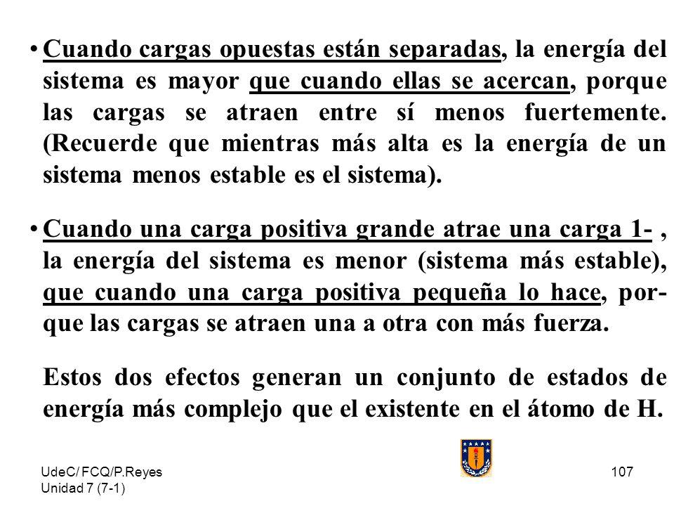 UdeC/ FCQ/P.Reyes Unidad 7 (7-1) 107 Cuando cargas opuestas están separadas, la energía del sistema es mayor que cuando ellas se acercan, porque las c