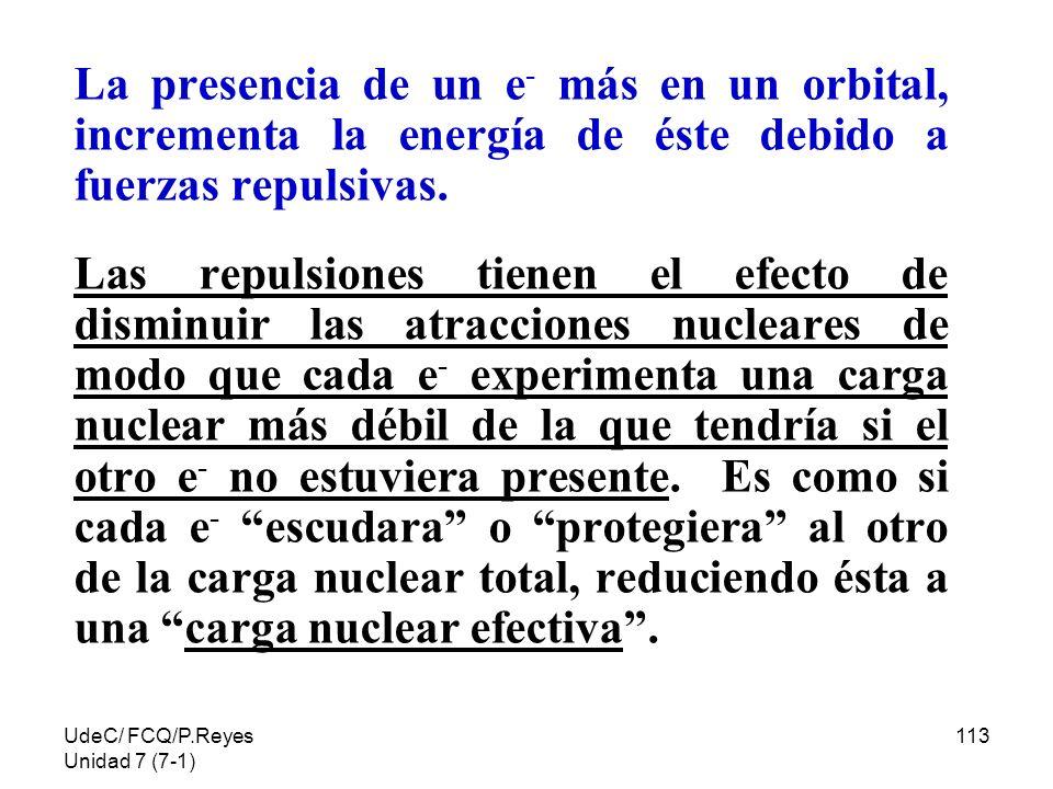 UdeC/ FCQ/P.Reyes Unidad 7 (7-1) 113 La presencia de un e - más en un orbital, incrementa la energía de éste debido a fuerzas repulsivas. Las repulsio