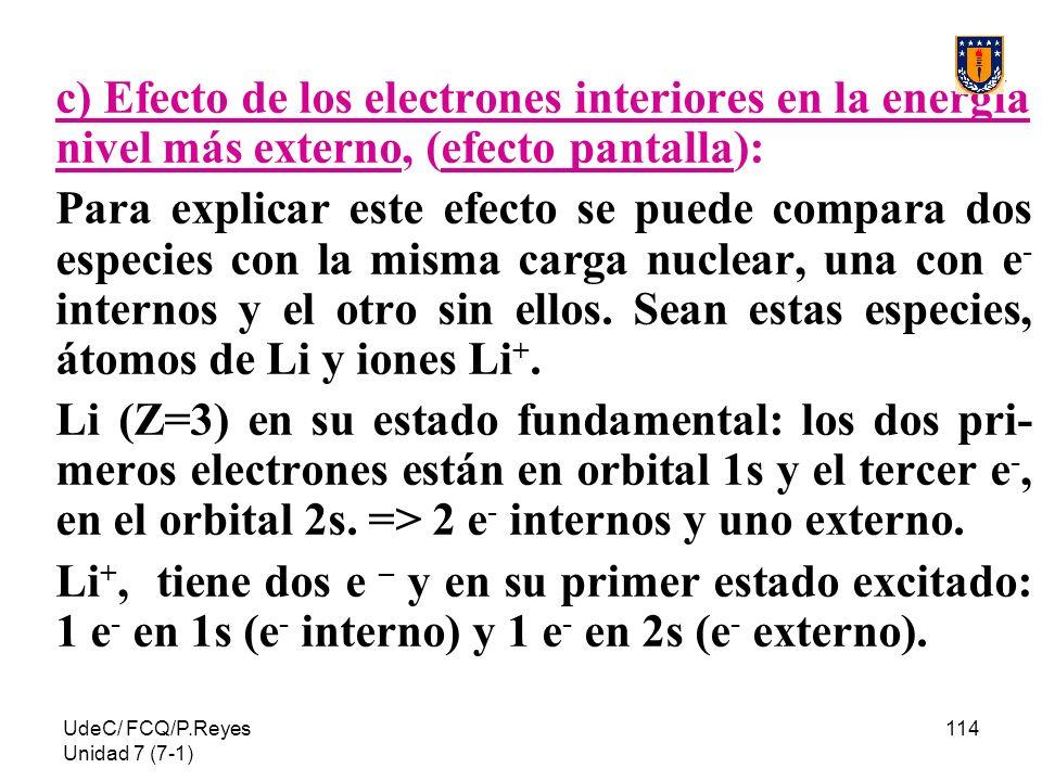 UdeC/ FCQ/P.Reyes Unidad 7 (7-1) 114 c) Efecto de los electrones interiores en la energía nivel más externo, (efecto pantalla): Para explicar este efe