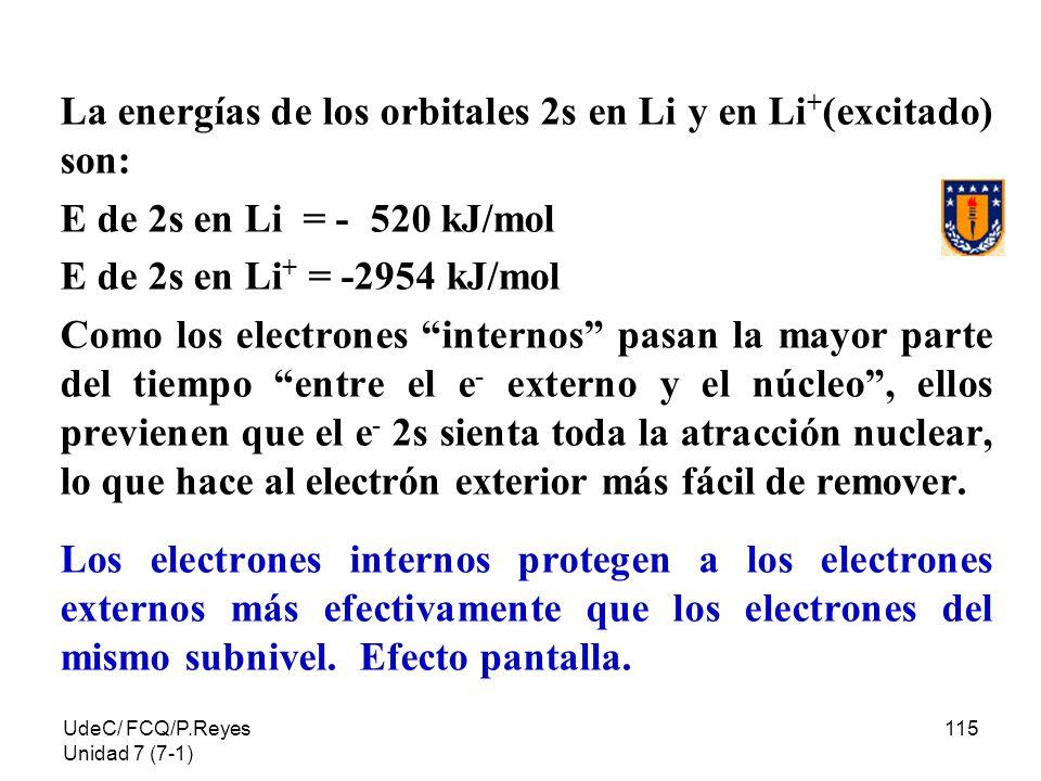UdeC/ FCQ/P.Reyes Unidad 7 (7-1) 115 La energías de los orbitales 2s en Li y en Li + (excitado) son: E de 2s en Li = - 520 kJ/mol E de 2s en Li + = -2