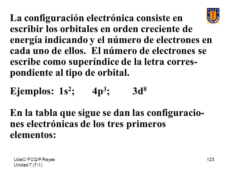 UdeC/ FCQ/P.Reyes Unidad 7 (7-1) 123 La configuración electrónica consiste en escribir los orbitales en orden creciente de energía indicando y el núme