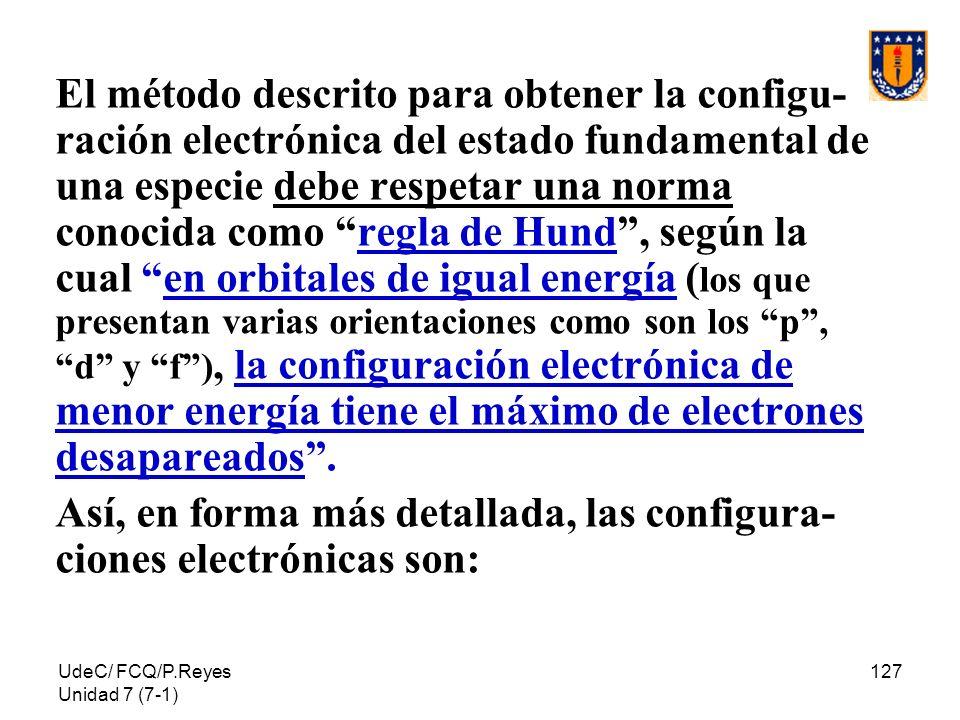 UdeC/ FCQ/P.Reyes Unidad 7 (7-1) 127 El método descrito para obtener la configu- ración electrónica del estado fundamental de una especie debe respeta