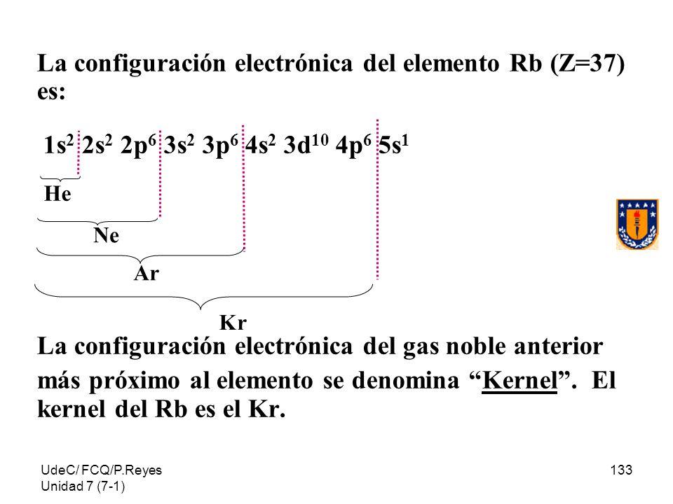 UdeC/ FCQ/P.Reyes Unidad 7 (7-1) 133 La configuración electrónica del elemento Rb (Z=37) es: 1s 2 2s 2 2p 6 3s 2 3p 6 4s 2 3d 10 4p 6 5s 1 La configur