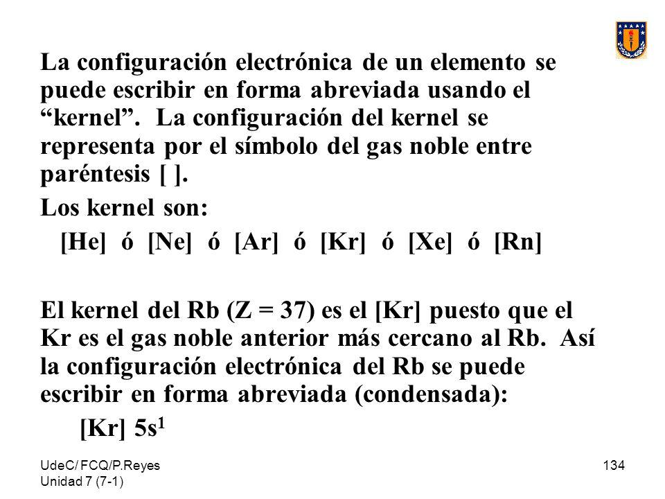 UdeC/ FCQ/P.Reyes Unidad 7 (7-1) 134 La configuración electrónica de un elemento se puede escribir en forma abreviada usando el kernel. La configuraci