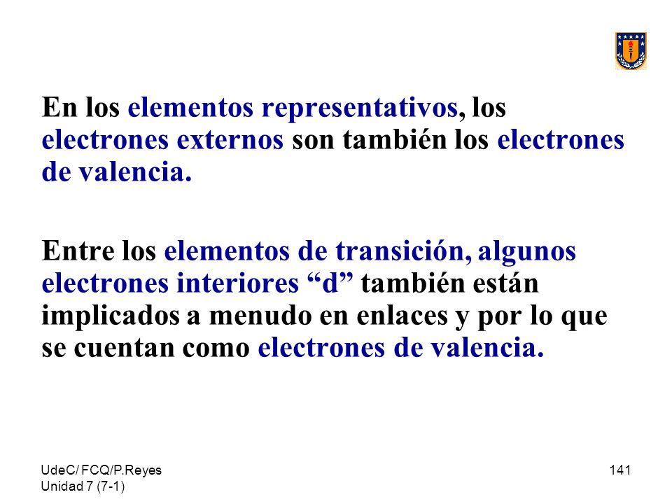 UdeC/ FCQ/P.Reyes Unidad 7 (7-1) 141 En los elementos representativos, los electrones externos son también los electrones de valencia. Entre los eleme