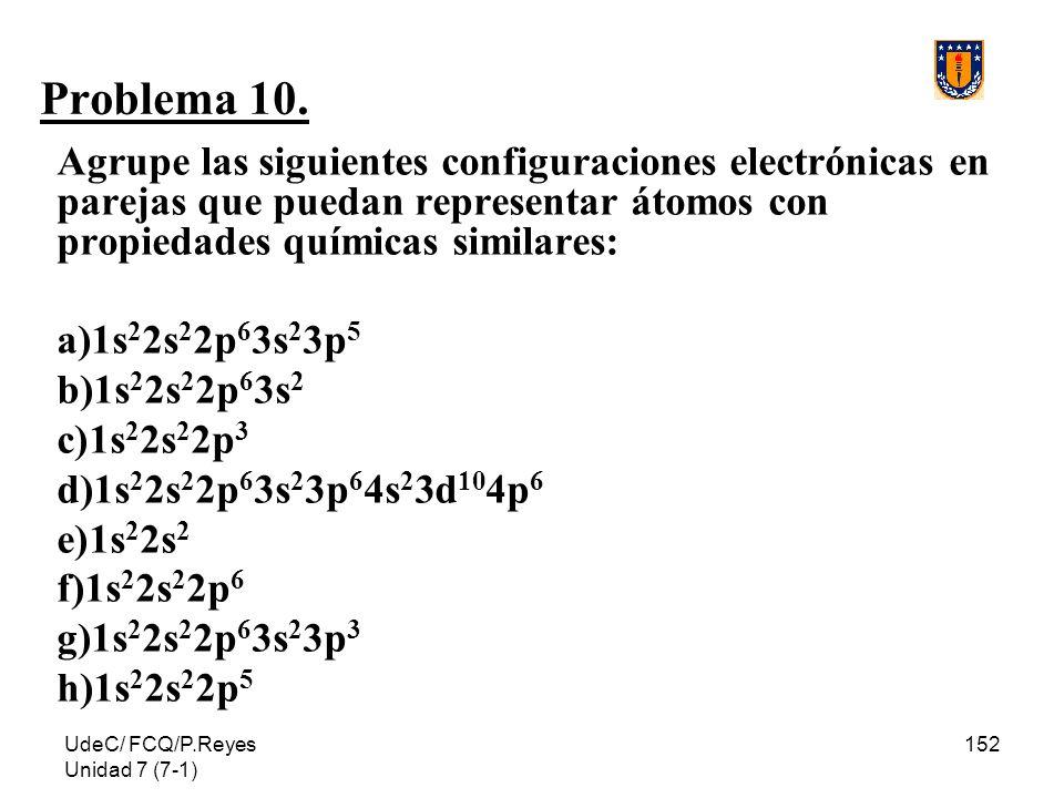 UdeC/ FCQ/P.Reyes Unidad 7 (7-1) 152 Problema 10. Agrupe las siguientes configuraciones electrónicas en parejas que puedan representar átomos con prop
