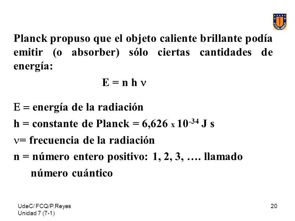 UdeC/ FCQ/P.Reyes Unidad 7 (7-1) 20 Planck propuso que el objeto caliente brillante podía emitir (o absorber) sólo ciertas cantidades de energía: E =