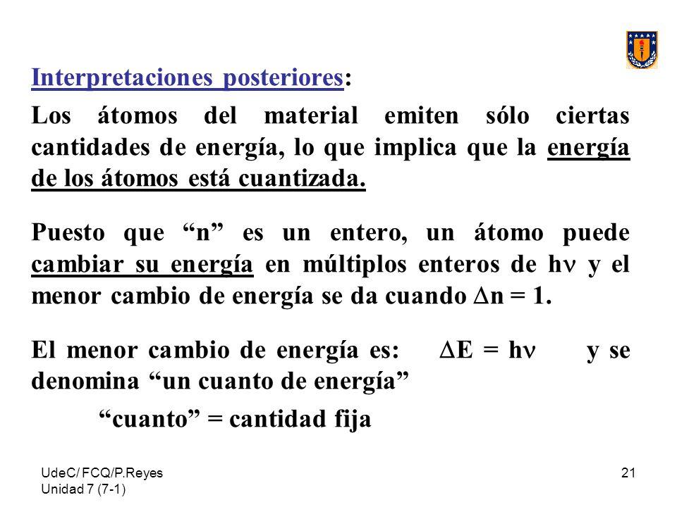 UdeC/ FCQ/P.Reyes Unidad 7 (7-1) 21 Interpretaciones posteriores: Los átomos del material emiten sólo ciertas cantidades de energía, lo que implica qu