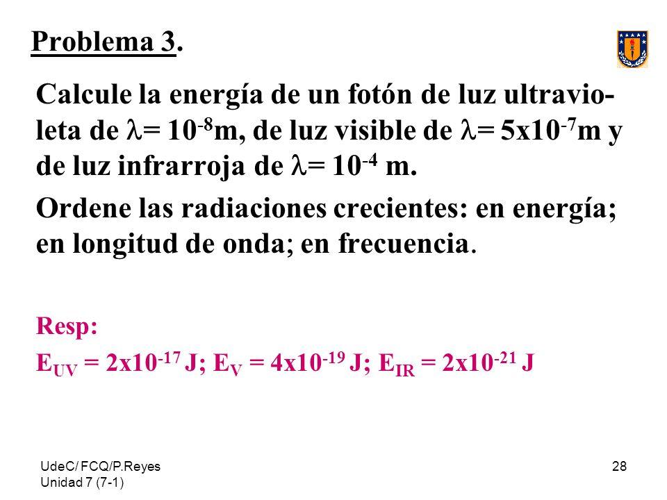 UdeC/ FCQ/P.Reyes Unidad 7 (7-1) 28 Problema 3. Calcule la energía de un fotón de luz ultravio- leta de = 10 -8 m, de luz visible de = 5x10 -7 m y de