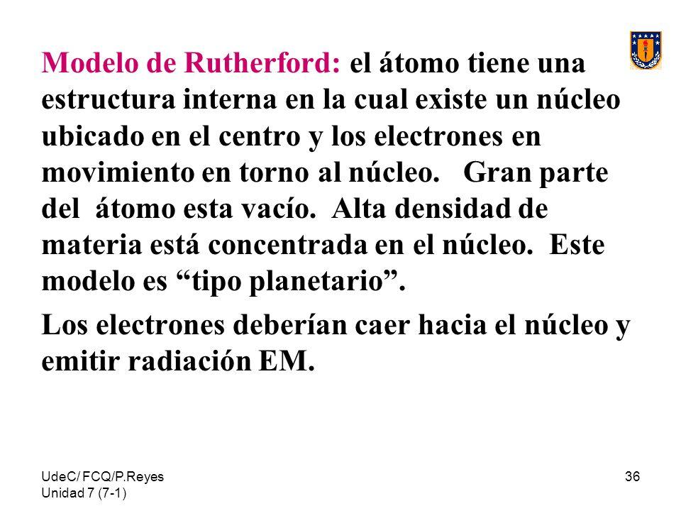 UdeC/ FCQ/P.Reyes Unidad 7 (7-1) 36 Modelo de Rutherford: el átomo tiene una estructura interna en la cual existe un núcleo ubicado en el centro y los