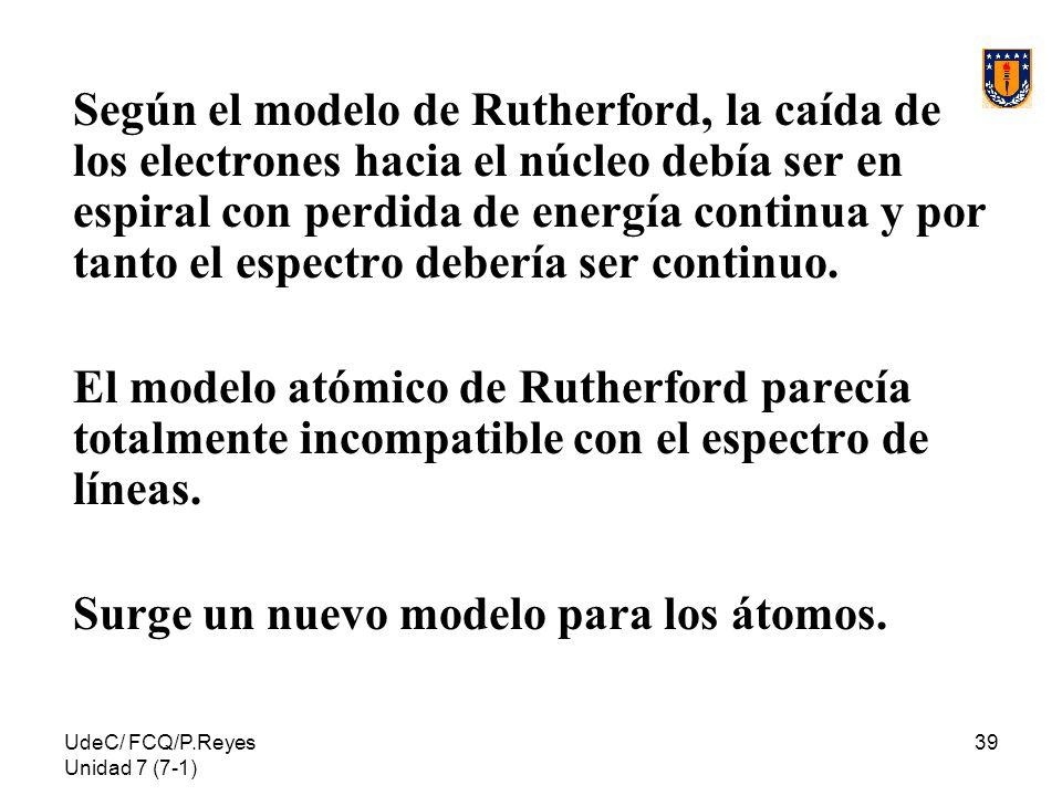 UdeC/ FCQ/P.Reyes Unidad 7 (7-1) 39 Según el modelo de Rutherford, la caída de los electrones hacia el núcleo debía ser en espiral con perdida de ener