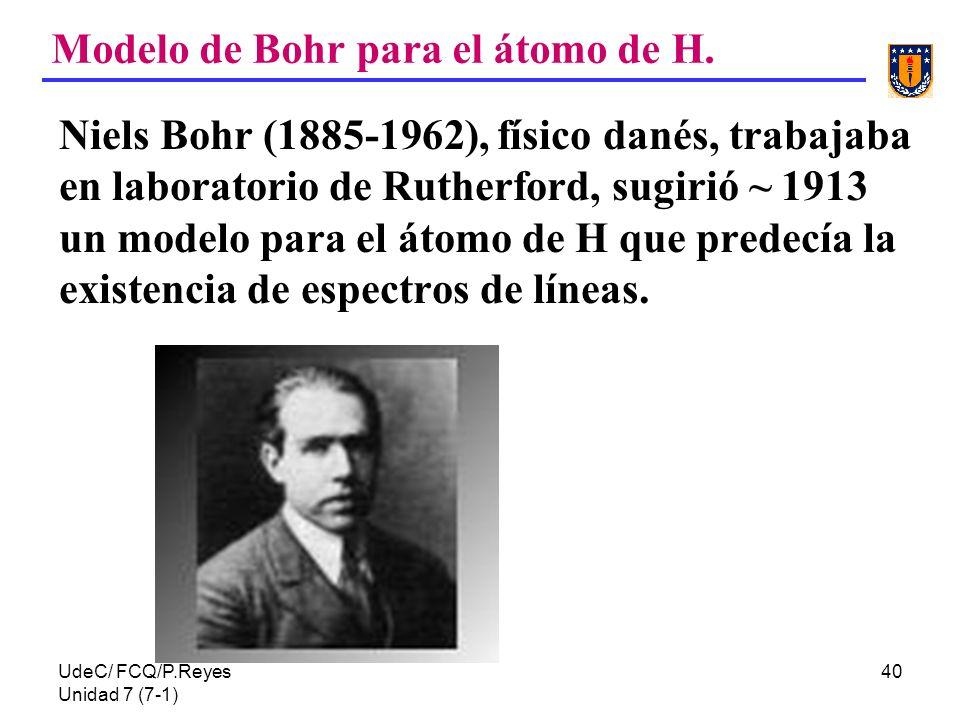 UdeC/ FCQ/P.Reyes Unidad 7 (7-1) 40 Modelo de Bohr para el átomo de H. Niels Bohr (1885-1962), físico danés, trabajaba en laboratorio de Rutherford, s