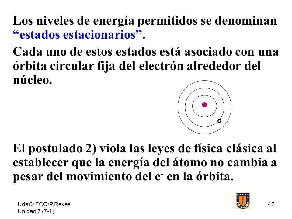 UdeC/ FCQ/P.Reyes Unidad 7 (7-1) 42 Los niveles de energía permitidos se denominan estados estacionarios. Cada uno de estos estados está asociado con
