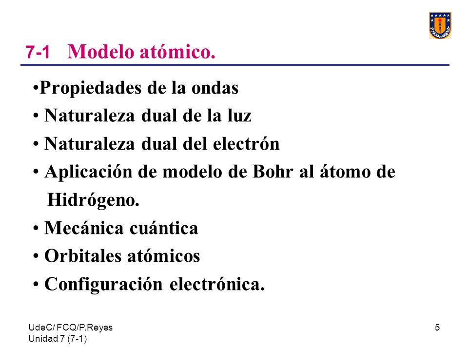 UdeC/ FCQ/P.Reyes Unidad 7 (7-1) 5 7-1 Modelo atómico. Propiedades de la ondas Naturaleza dual de la luz Naturaleza dual del electrón Aplicación de mo