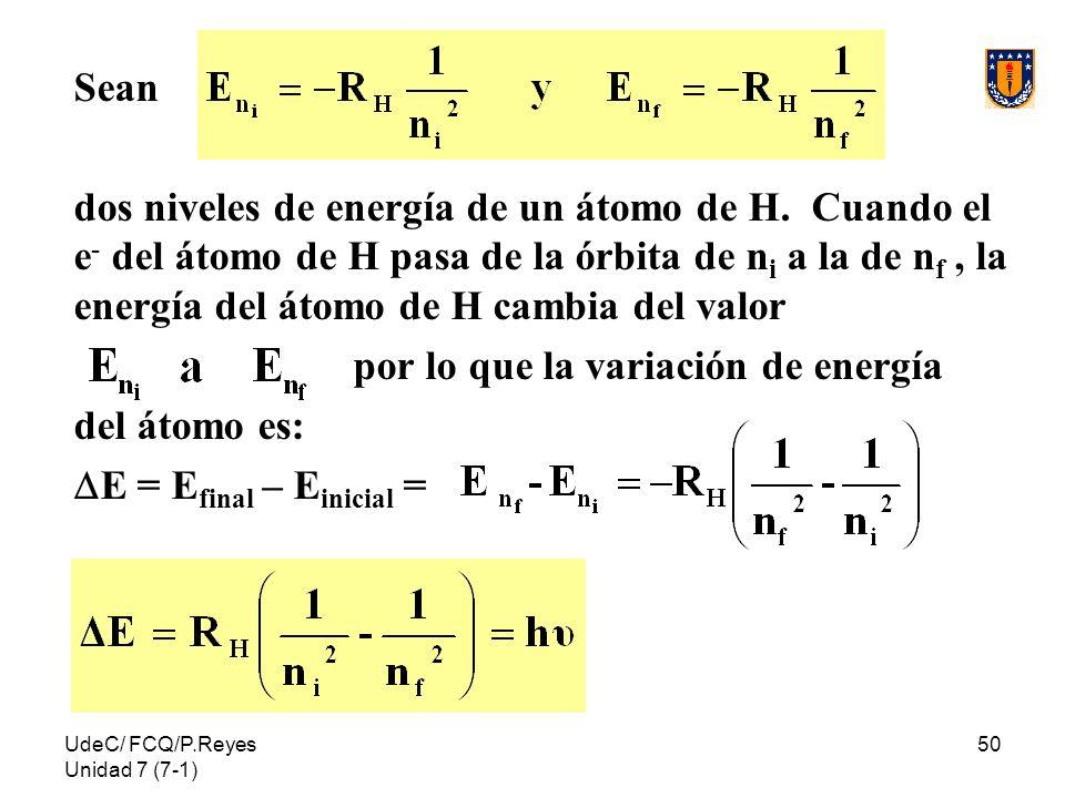 UdeC/ FCQ/P.Reyes Unidad 7 (7-1) 50 Sean dos niveles de energía de un átomo de H. Cuando el e - del átomo de H pasa de la órbita de n i a la de n f, l