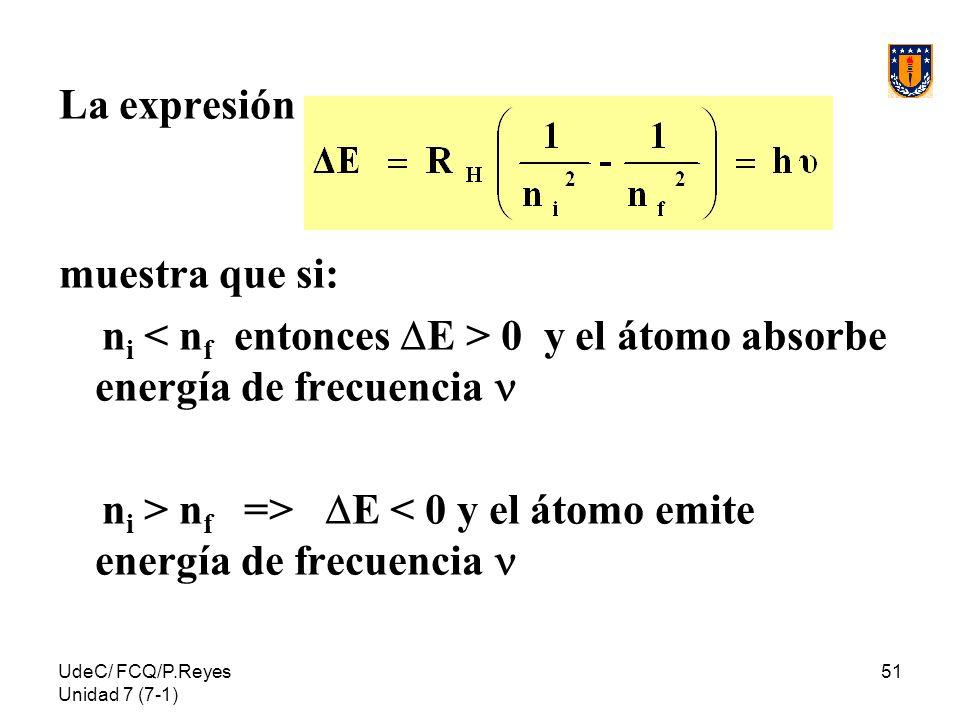 UdeC/ FCQ/P.Reyes Unidad 7 (7-1) 51 La expresión muestra que si: n i 0 y el átomo absorbe energía de frecuencia n i > n f => E < 0 y el átomo emite en