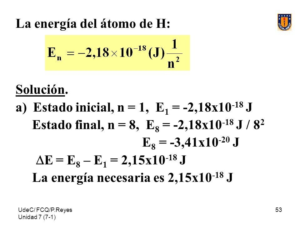 UdeC/ FCQ/P.Reyes Unidad 7 (7-1) 53 La energía del átomo de H: Solución. a)Estado inicial, n = 1, E 1 = -2,18x10 -18 J Estado final, n = 8, E 8 = -2,1