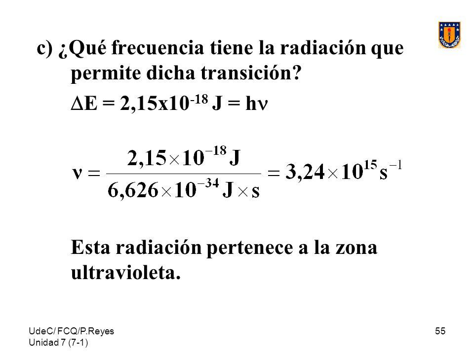 UdeC/ FCQ/P.Reyes Unidad 7 (7-1) 55 c) ¿Qué frecuencia tiene la radiación que permite dicha transición? E = 2,15x10 -18 J = h Esta radiación pertenece