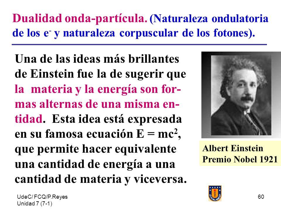 UdeC/ FCQ/P.Reyes Unidad 7 (7-1) 60 Dualidad onda-partícula. (Naturaleza ondulatoria de los e - y naturaleza corpuscular de los fotones). Una de las i