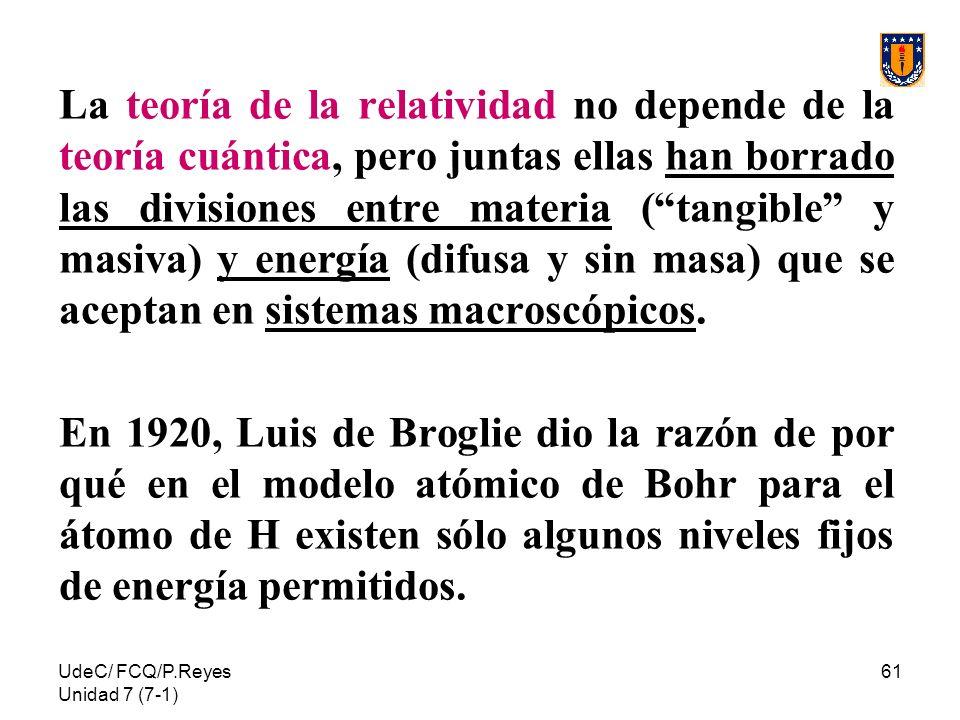 UdeC/ FCQ/P.Reyes Unidad 7 (7-1) 61 La teoría de la relatividad no depende de la teoría cuántica, pero juntas ellas han borrado las divisiones entre m
