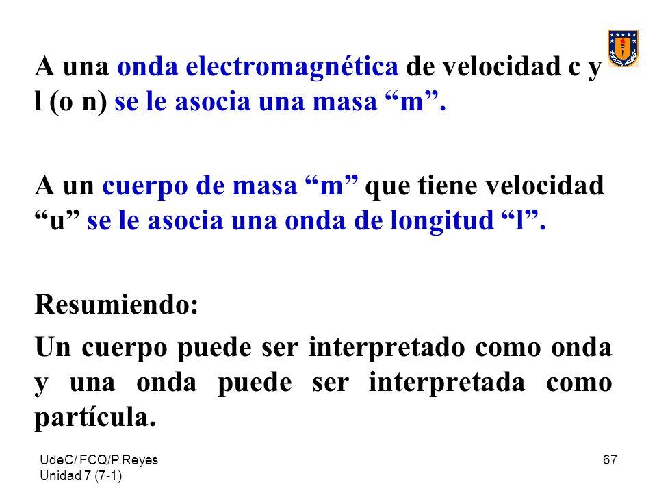 UdeC/ FCQ/P.Reyes Unidad 7 (7-1) 67 A una onda electromagnética de velocidad c y l (o n) se le asocia una masa m. A un cuerpo de masa m que tiene velo