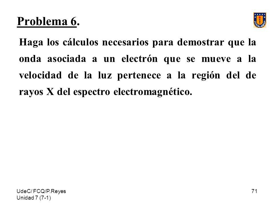 UdeC/ FCQ/P.Reyes Unidad 7 (7-1) 71 Problema 6. Haga los cálculos necesarios para demostrar que la onda asociada a un electrón que se mueve a la veloc