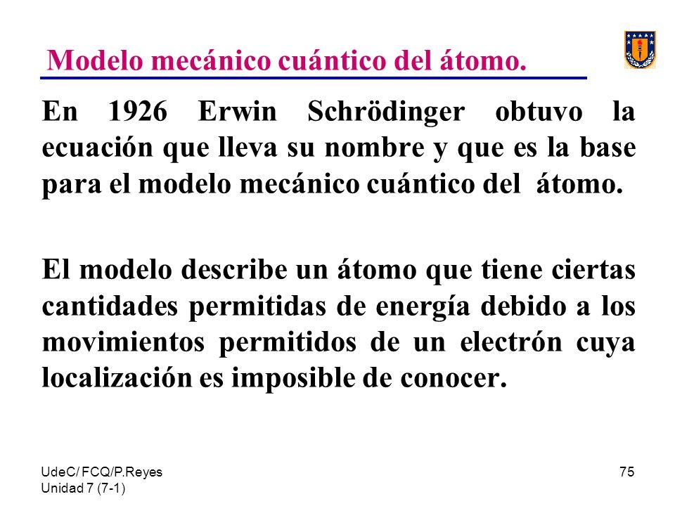 UdeC/ FCQ/P.Reyes Unidad 7 (7-1) 75 Modelo mecánico cuántico del átomo. En 1926 Erwin Schrödinger obtuvo la ecuación que lleva su nombre y que es la b