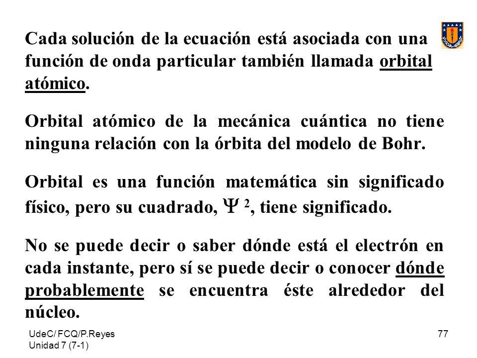 UdeC/ FCQ/P.Reyes Unidad 7 (7-1) 77 Cada solución de la ecuación está asociada con una función de onda particular también llamada orbital atómico. Orb