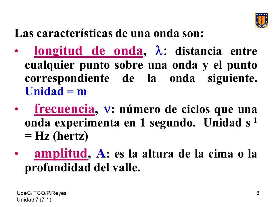 UdeC/ FCQ/P.Reyes Unidad 7 (7-1) 8 Las características de una onda son: longitud de onda, distancia entre cualquier punto sobre una onda y el punto co