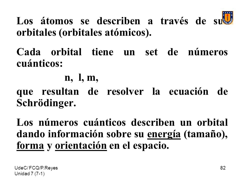 UdeC/ FCQ/P.Reyes Unidad 7 (7-1) 82 Los átomos se describen a través de sus orbitales (orbitales atómicos). Cada orbital tiene un set de números cuánt