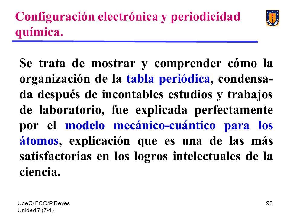 UdeC/ FCQ/P.Reyes Unidad 7 (7-1) 95 Configuración electrónica y periodicidad química. Se trata de mostrar y comprender cómo la organización de la tabl