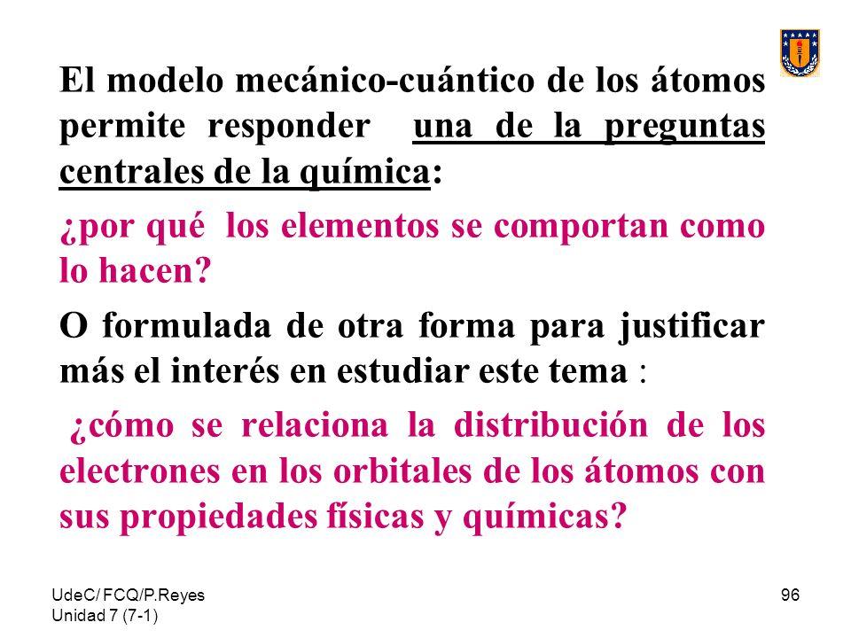 UdeC/ FCQ/P.Reyes Unidad 7 (7-1) 96 El modelo mecánico-cuántico de los átomos permite responder una de la preguntas centrales de la química: ¿por qué