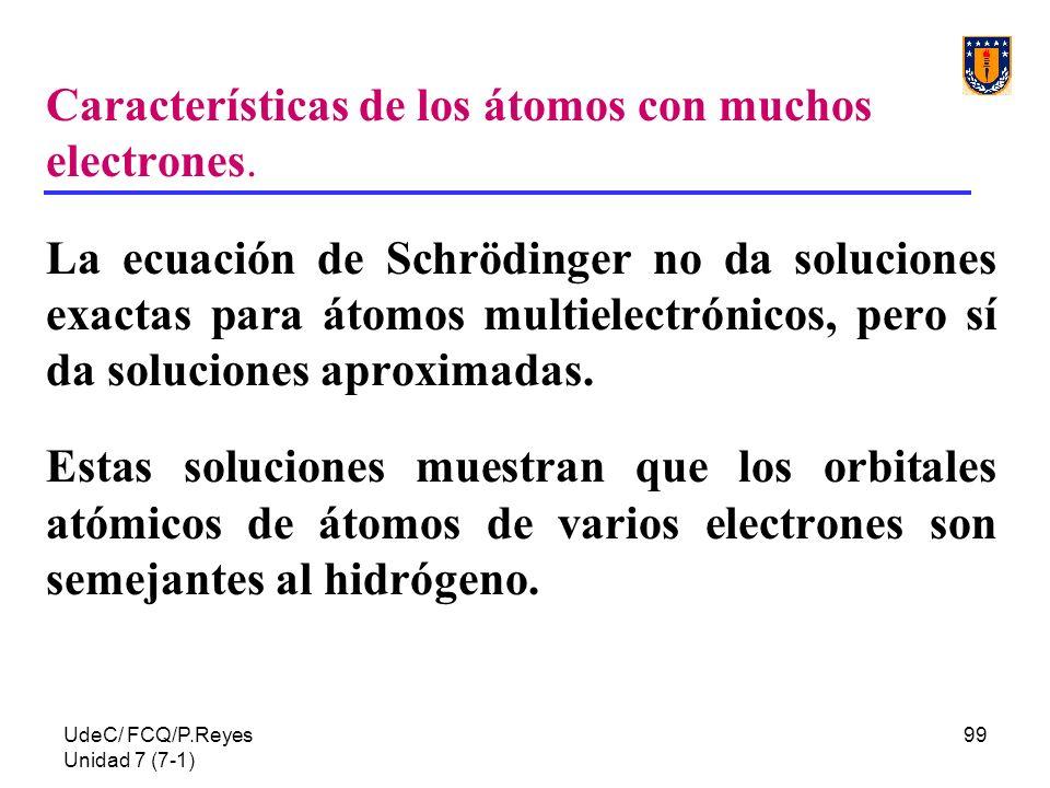 UdeC/ FCQ/P.Reyes Unidad 7 (7-1) 99 Características de los átomos con muchos electrones. La ecuación de Schrödinger no da soluciones exactas para átom