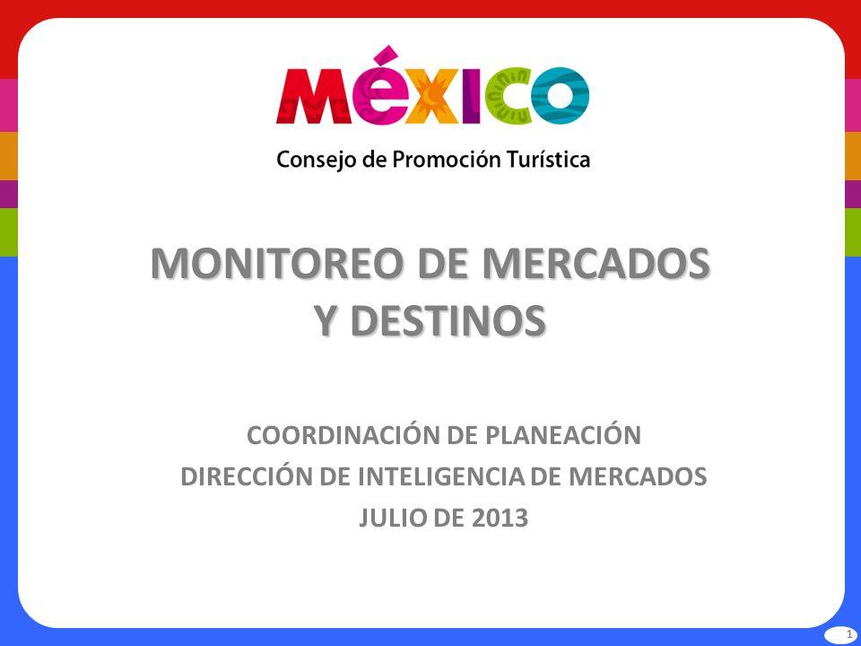 MONITOREO DE MERCADOS Y DESTINOS COORDINACIÓN DE PLANEACIÓN DIRECCIÓN DE INTELIGENCIA DE MERCADOS JULIO DE 2013 1
