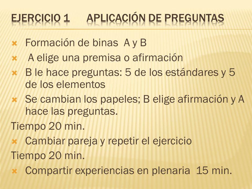 Formación de binas A y B A elige una premisa o afirmación B le hace preguntas: 5 de los estándares y 5 de los elementos Se cambian los papeles; B elig