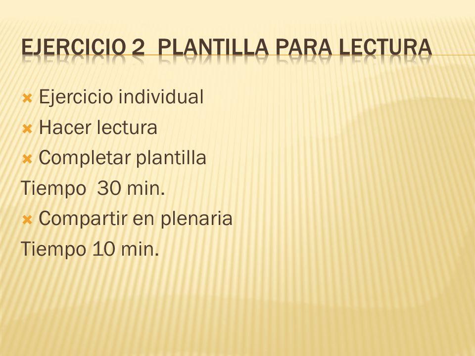 Ejercicio individual Hacer lectura Completar plantilla Tiempo 30 min. Compartir en plenaria Tiempo 10 min.