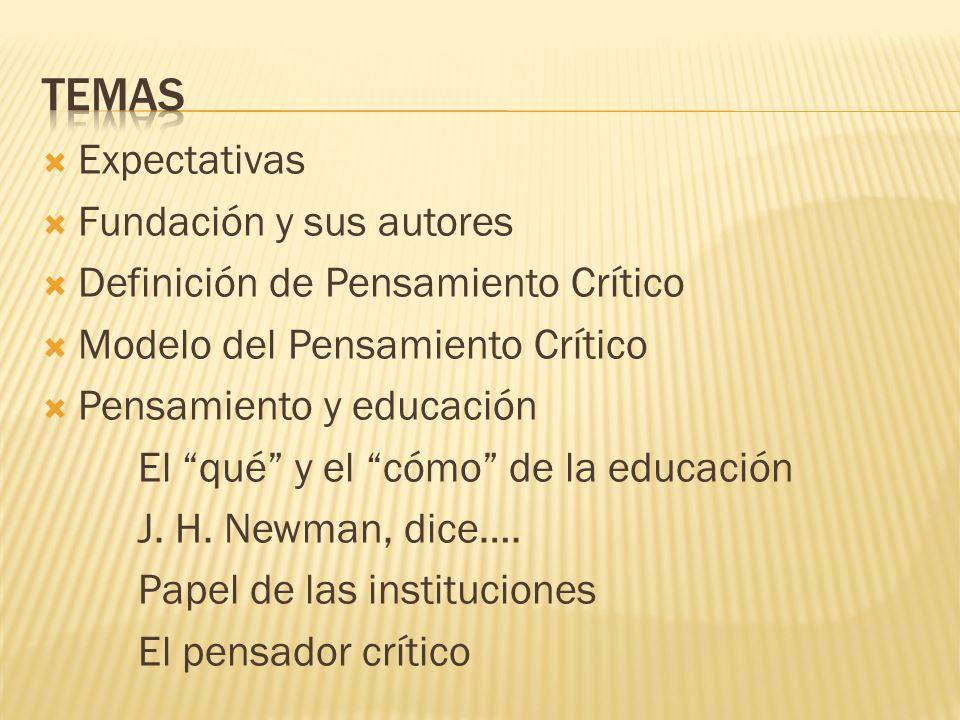 Expectativas Fundación y sus autores Definición de Pensamiento Crítico Modelo del Pensamiento Crítico Pensamiento y educación El qué y el cómo de la e