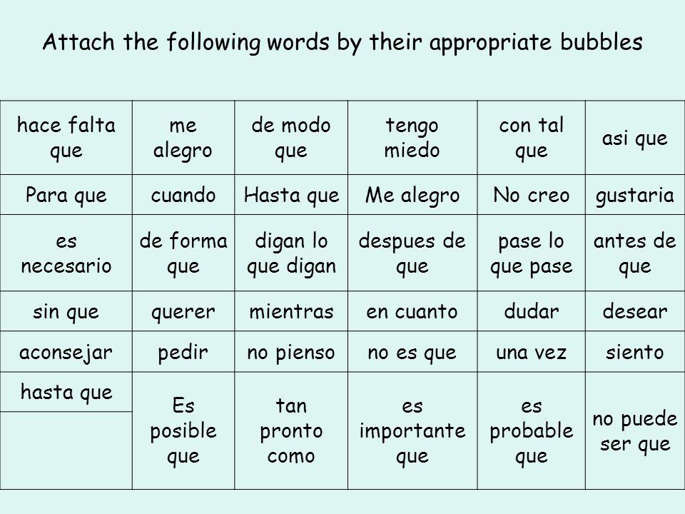 Attach the following words by their appropriate bubbles hace falta que me alegro de modo que tengo miedo con tal que asi que Para quecuandoHasta queMe