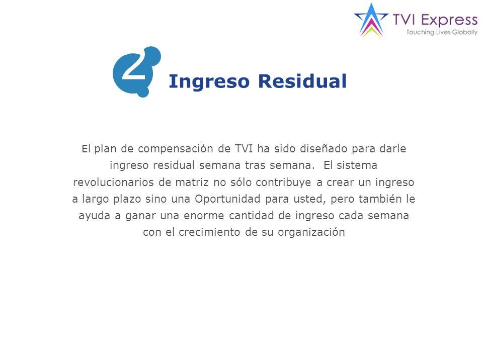 El plan de compensación de TVI ha sido diseñado para darle ingreso residual semana tras semana.