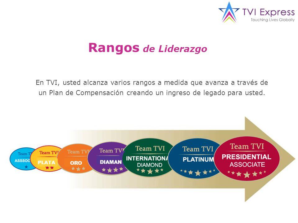 Rangos de Liderazgo En TVI, usted alcanza varios rangos a medida que avanza a través de un Plan de Compensación creando un ingreso de legado para usted.