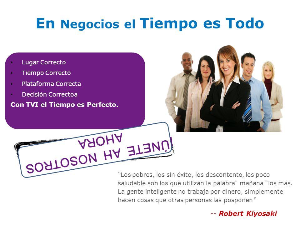En Negocios el Tiempo es Todo Lugar Correcto Tiempo Correcto Plataforma Correcta Decisión Correctoa Con TVI el Tiempo es Perfecto.