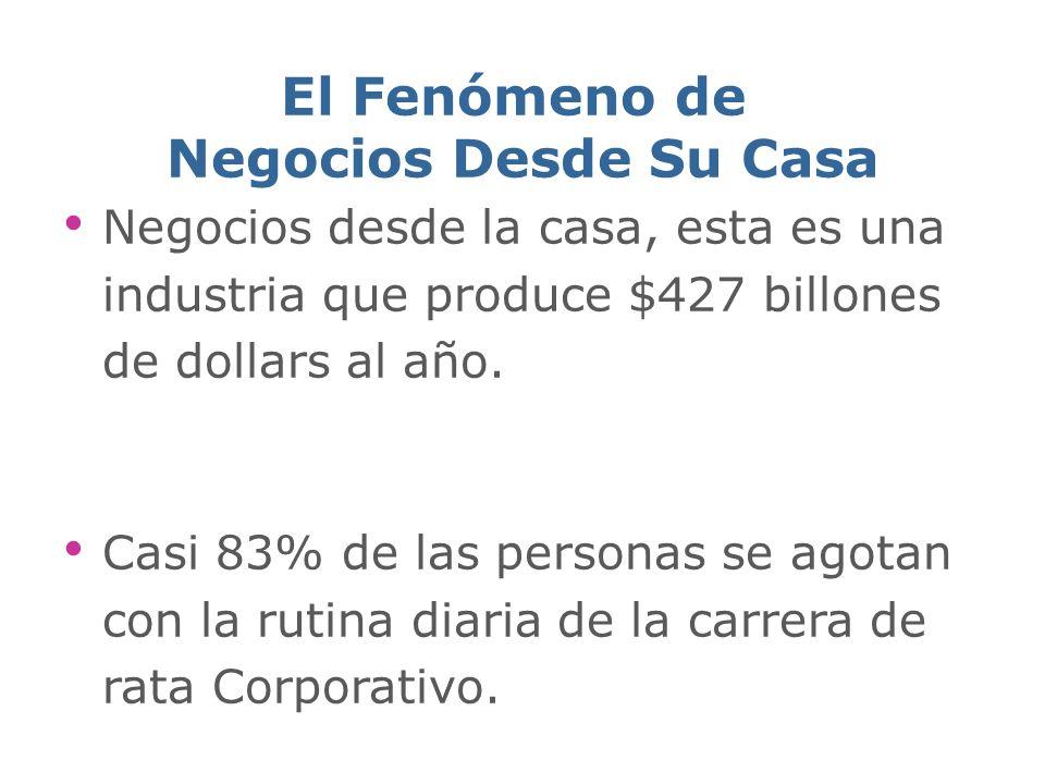 El Fenómeno de Negocios Desde Su Casa Negocios desde la casa, esta es una industria que produce $427 billones de dollars al año.
