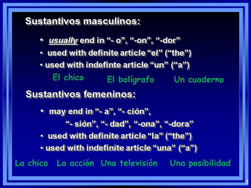 2 Los sustantivos: Noun: person, place, thing, idea En español, nouns have gender Sustantivos masculinos / Sustantivos femeninos Noun: person, place,