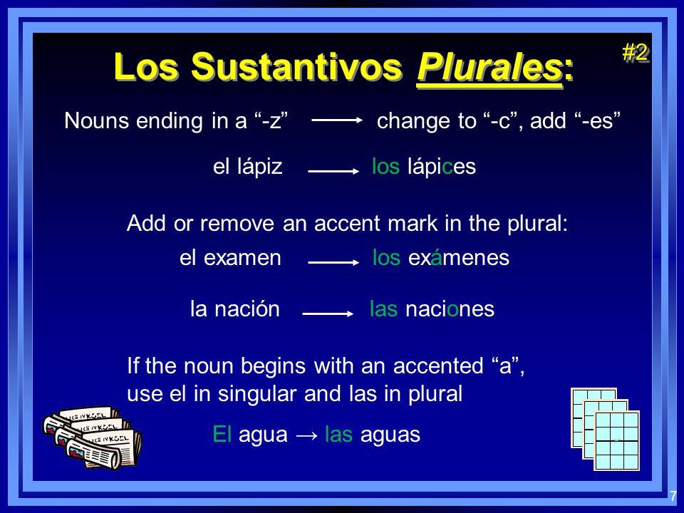 6 Los Sustantivos Plurales: el los la las Nouns ending in a vowel add -s el chico los chicos la silla las sillas Nouns ending in a consonant add -es e