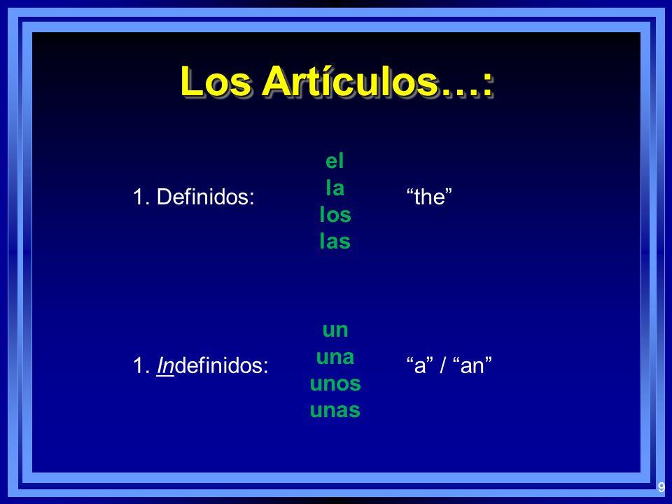 9 Los Artículos…: 1. Definidos: el la los las the 1. Indefinidos: un una unos unas a / an
