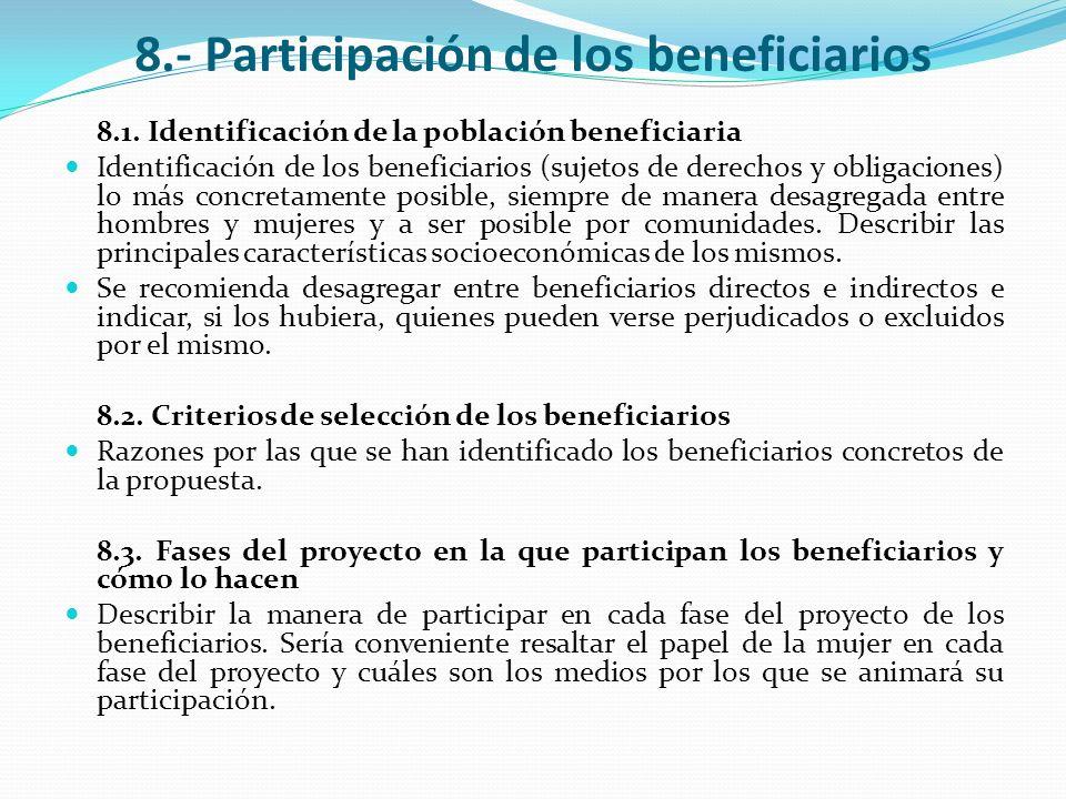 8.- Participación de los beneficiarios 8.1. Identificación de la población beneficiaria Identificación de los beneficiarios (sujetos de derechos y obl