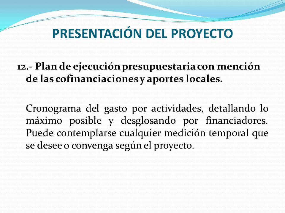 PRESENTACIÓN DEL PROYECTO 12.- Plan de ejecución presupuestaria con mención de las cofinanciaciones y aportes locales. Cronograma del gasto por activi