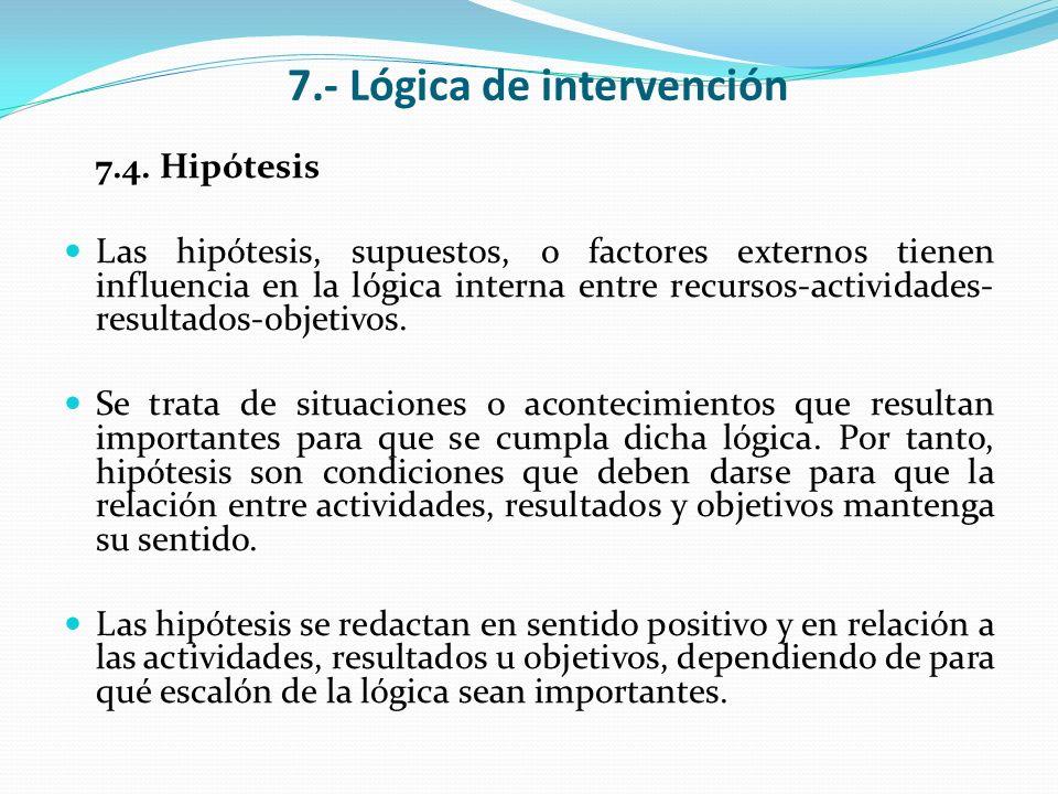 7.- Lógica de intervención 7.4. Hipótesis Las hipótesis, supuestos, o factores externos tienen influencia en la lógica interna entre recursos-activida