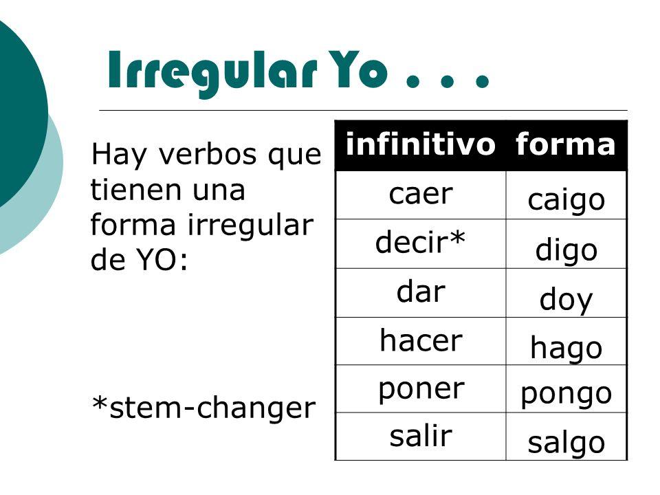 Irregular Yo... Hay verbos que tienen una forma irregular de YO: *stem-changer infinitivoforma caer decir* dar hacer poner salir caigo digo doy hago p
