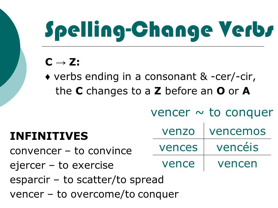 Spelling-Change Verbs C Z: verbs ending in a consonant & -cer/-cir, the C changes to a Z before an O or A INFINITIVES convencer – to convince ejercer